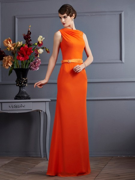 Sheath/Column High Neck Sleeveless Sash/Ribbon/Belt Long Chiffon Dresses