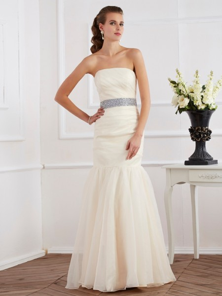 Trumpet/Mermaid Strapless Sleeveless Sash/Ribbon/Belt Long Organza Dresses