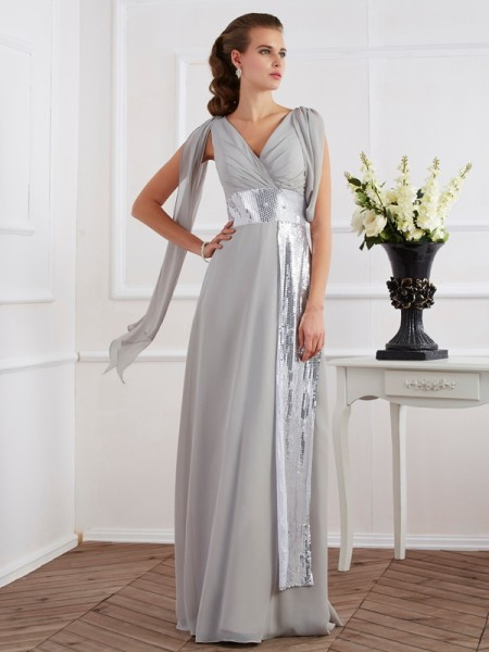 Sheath/Column V-neck Short Sleeves Lace Long Chiffon Dresses