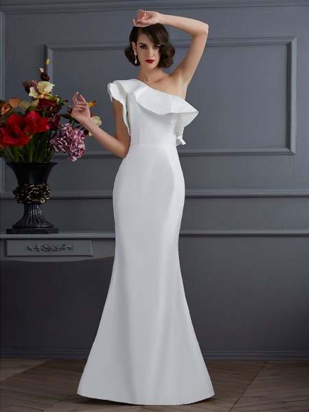 Trumpet/Mermaid One-Shoulder Sleeveless Ruffles Long Taffeta Dresses