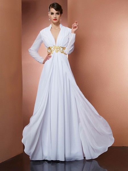 A-Line/Princess V-neck Long Sleeves Long Chiffon Dresses