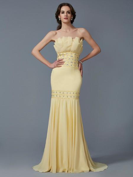 Trumpet/Mermaid Strapless Sleeveless Beading Long Chiffon Dresses