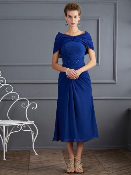 Sheath/Column Scoop Short Sleeves Beading Short Chiffon Mother of the Bride Dresses