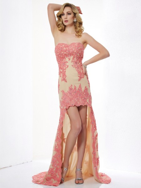 A-Line/Princess Sweetheart Sleeveless Applique High Low Lace Dresses