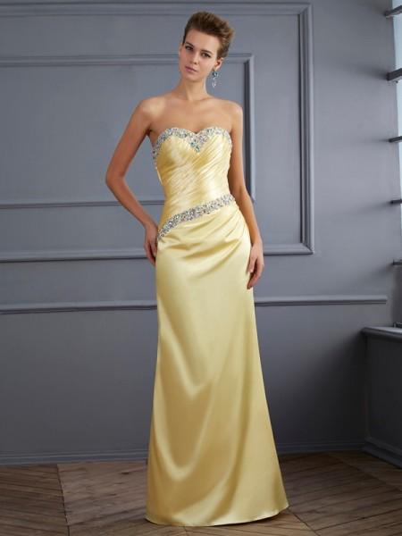 Trumpet/Mermaid Sweetheart Sleeveless Beading Long Elastic Woven Satin Dresses
