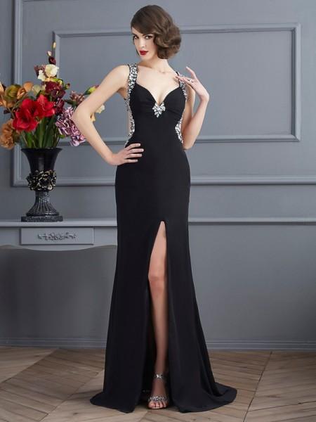 Sheath/Column Straps Sleeveless Beading Long Chiffon Dresses