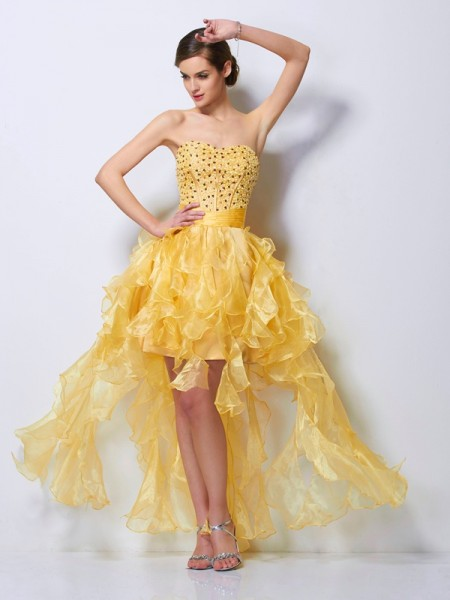 A-Line/Princess Sweetheart Sleeveless Beading High Low Tulle Homecoming Dresses
