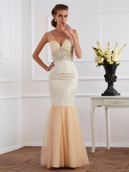 Trumpet/Mermaid Straps Sleeveless Beading Long Net Dresses