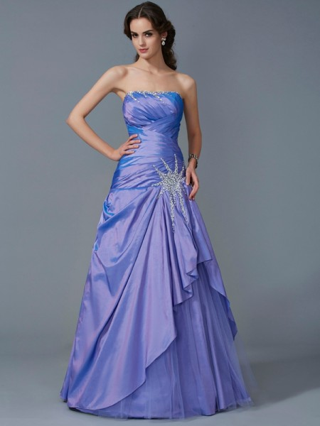 Ball Gown Strapless Sleeveless Beading Long Taffeta Quinceanera Dresses