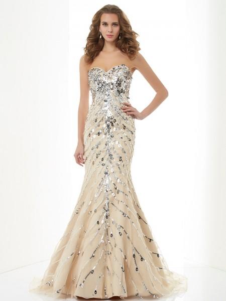 Trumpet/Mermaid Sweetheart Sleeveless Beading Long Satin Dresses