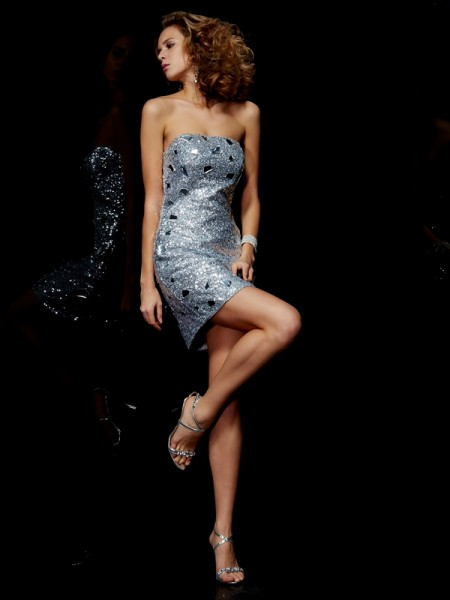 Sheath/Column Strapless Sleeveless Lace Short Lace Homecoming Dresses