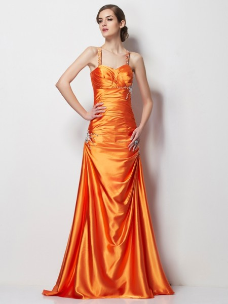 A-Line/Princess Spaghetti Straps Sleeveless Beading Long Elastic Woven Satin Dresses