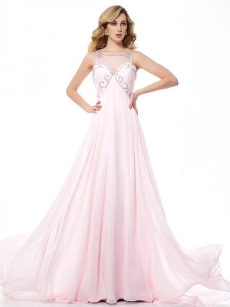 A-Line/Princess Scoop Sleeveless Beading Long Chiffon Dresses