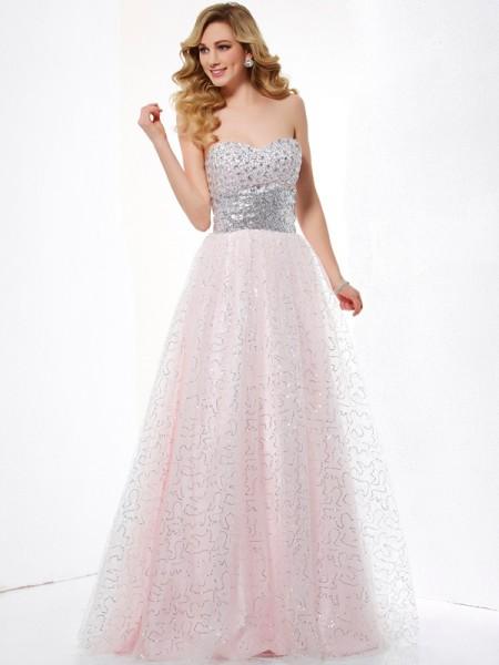 Ball Gown Sweetheart Sleeveless Long Net Dresses