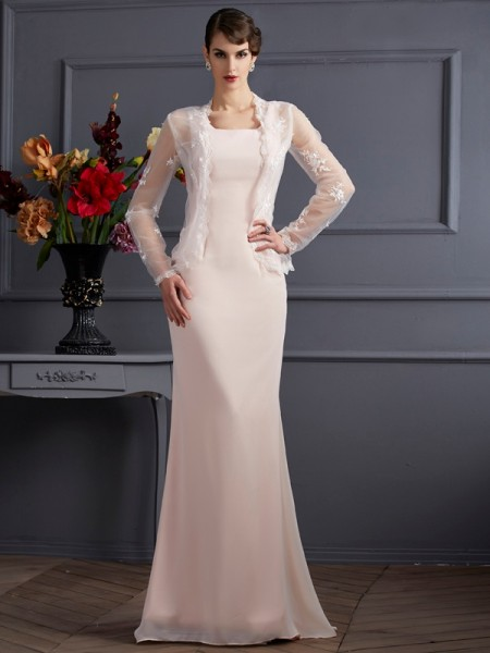 Sheath/Column Square Sleeveless Long Chiffon Mother of the Bride Dresses