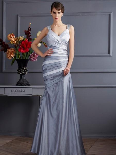 Trumpet/Mermaid Straps Sleeveless Pleats Long Satin Dresses