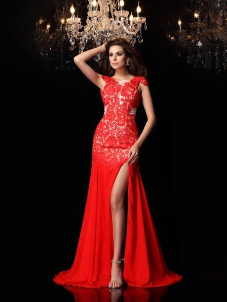 Trumpet/Mermaid High Neck Lace Sleeveless Long Chiffon Dresses