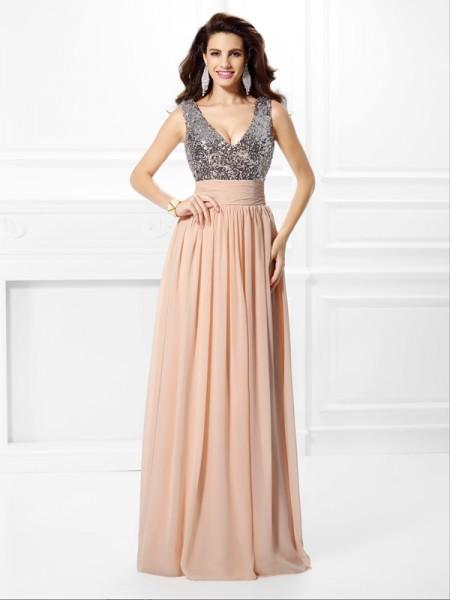 A-Line/Princess V-neck Paillette Sleeveless Long Chiffon Dresses