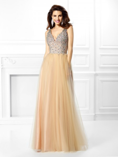 Ball Gown V-neck Beading Sleeveless Long Satin Quinceanera Dresses