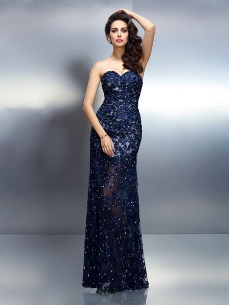 Trumpet/Mermaid Sweetheart Beading Sleeveless Long Elastic Woven Satin Dresses