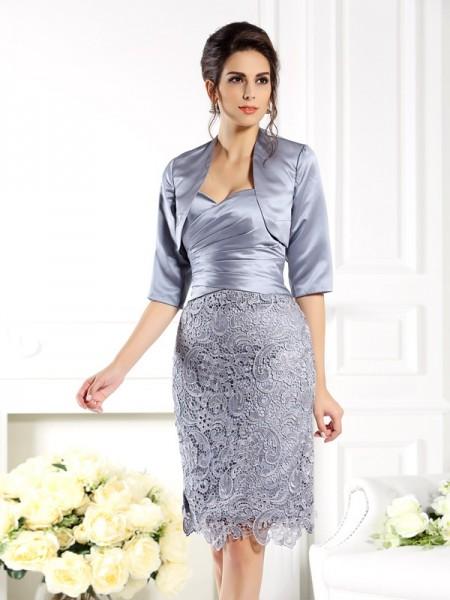 Sheath/Column Sweetheart Lace Sleeveless Short Satin Mother of the Bride Dresses