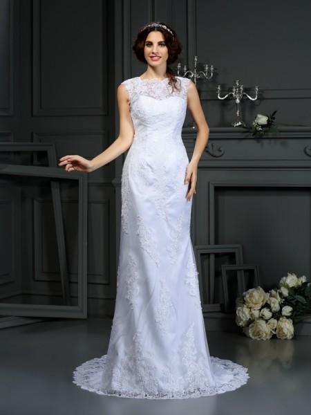 Sheath/Column High Neck Lace Sleeveless Long Lace Wedding Dresses