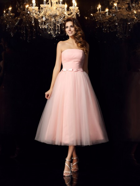 Ball Gown Strapless Sash/Ribbon/Belt Sleeveless Short Satin Quinceanera Dresses