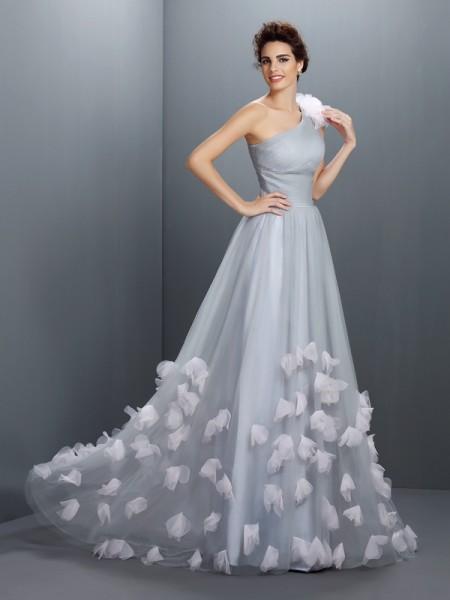 A-Line/Princess One-Shoulder Hand-Made Flower Sleeveless Long Net Dresses