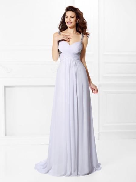A-Line/Princess Straps Pleats Beading Sleeveless Long Chiffon Dresses