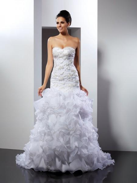 Trumpet/Mermaid Sweetheart Beading Sleeveless Long Organza Wedding Dresses