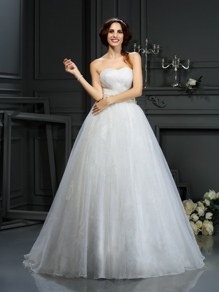 A-Line/Princess Sweetheart Applique Sleeveless Long Organza Wedding Dresses