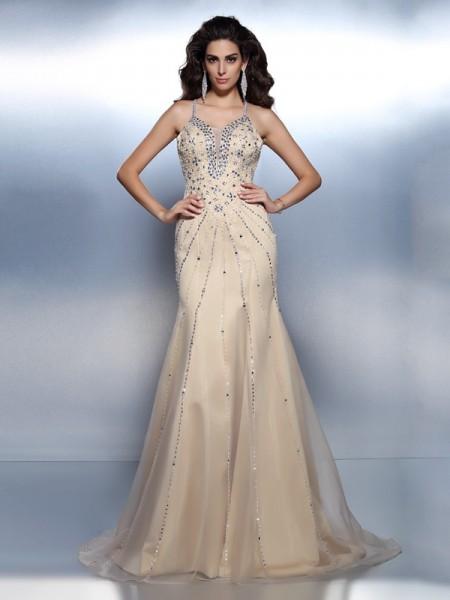 Trumpet/Mermaid Spaghetti Straps Beading Sleeveless Long Organza Dresses