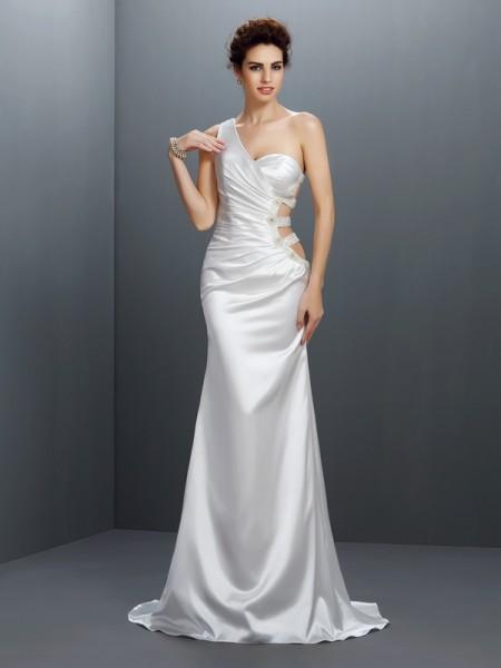Trumpet/Mermaid One-Shoulder Beading Sleeveless Long Elastic Woven Satin Dresses