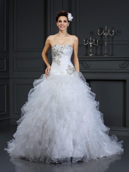 Ball Gown Strapless Beading Sleeveless Long Organza Wedding Dresses