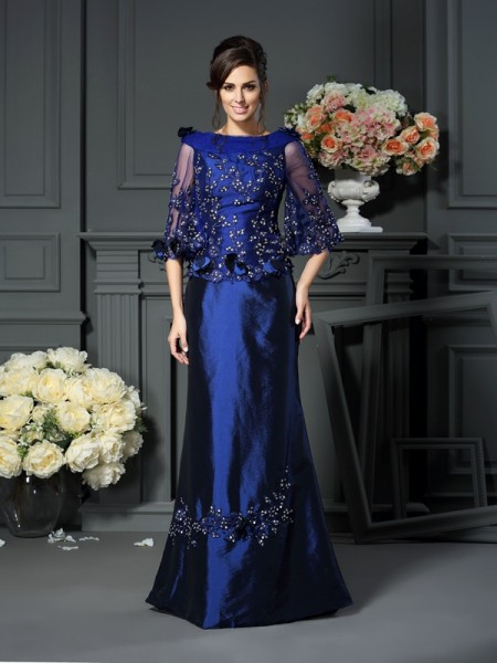 A-Line/Princess Scoop Beading 1/2 Sleeves Long Taffeta Mother of the Bride Dresses