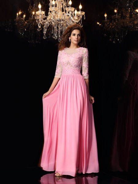 A-Line/Princess Scoop Applique 1/2 Sleeves Long Silk like Satin Dresses
