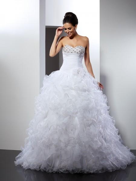 Ball Gown Sweetheart Beading Sleeveless Long Organza Wedding Dresses