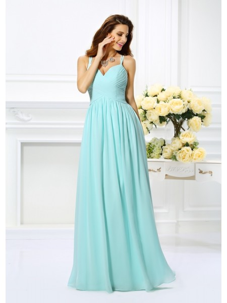 A-Line/Princess Spaghetti Straps Pleats Sleeveless Long Chiffon Dresses