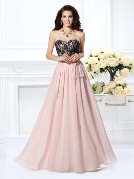 A-Line/Princess Sweetheart Lace Sleeveless Long Chiffon Dresses
