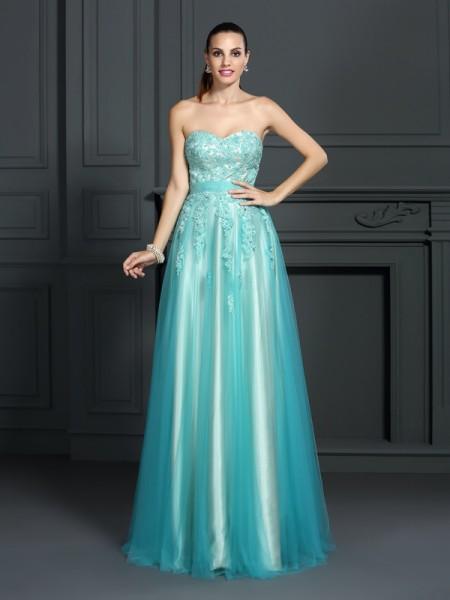 A-Line/Princess Sweetheart Applique Sleeveless Long Elastic Woven Satin Dresses