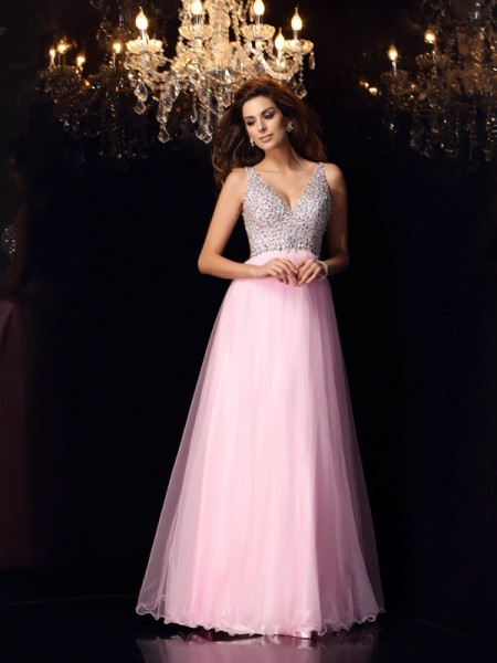 A-Line/Princess V-neck Ruffles Sleeveless Long Elastic Woven Satin Dresses