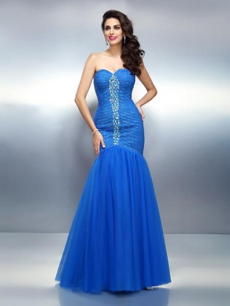 Trumpet/Mermaid Sweetheart Rhinestone Sleeveless Long Satin Dresses