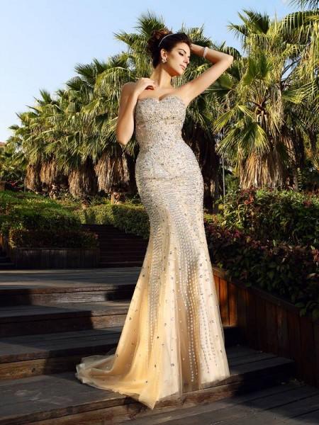 Trumpet/Mermaid Sweetheart Beading Sleeveless Long Satin Dresses