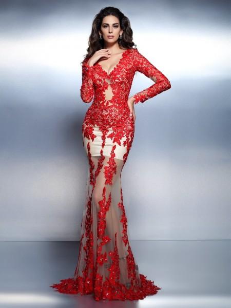 Trumpet/Mermaid V-neck Applique Long Sleeves Long Lace Dresses
