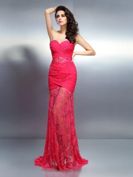 Trumpet/Mermaid Sweetheart Pleats Sleeveless Long Chiffon Dresses