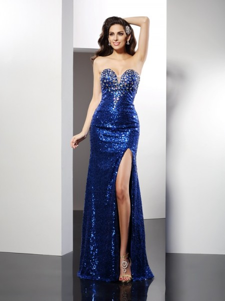Sheath/Column Sweetheart Sequin Sleeveless Long Sequins Dresses