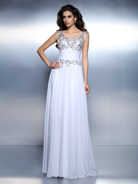 A-Line/Princess Scoop Beading Sleeveless Rhinestone Long Chiffon Dresses