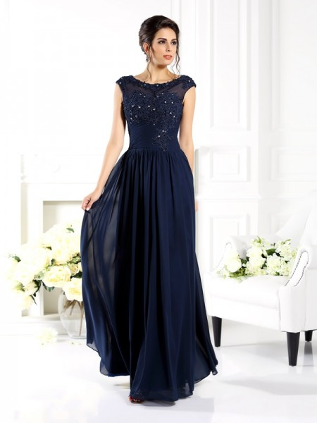 e5267ce285d6a A-Line/Princess Scoop Beading Sleeveless Long Chiffon Mother of the Bride  Dresses