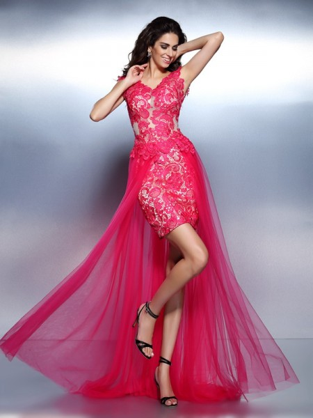 A-Line/Princess V-neck Lace Sleeveless Long Lace Dresses
