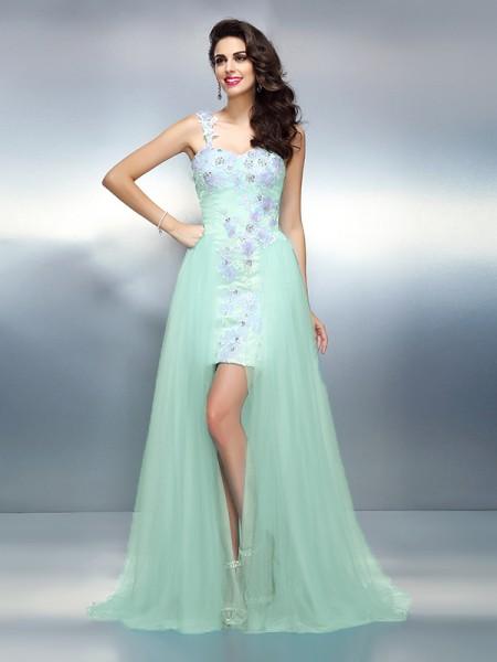Sheath/Column One-Shoulder Applique Sleeveless Long Elastic Woven Satin Dresses